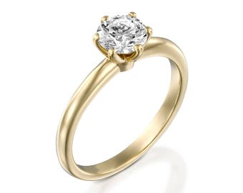 1 carat Moissanite Round Cut-Moissanite Solitaire ring-Moissanite  Engagement Ring-Gold ring -Women Jewelry-Promise ring-Bridal Jewelry-