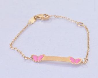 Baby girl personalized bracelet-Baby shower gift -Baby bracelet personalized-Baby girl jewelry-Butterfly bracelet-FREE SHIPPING-Custom made