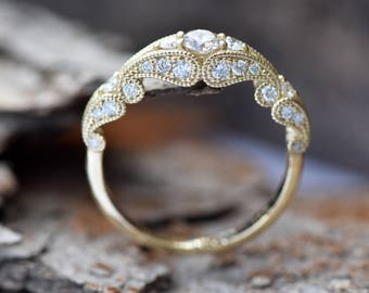 Filigree engagement ring-Diamond Engagement Ring-Gold Ring -Promise ring-Art deco ring - Bridal Jewelry-Unique diamond ring-Vintage ring
