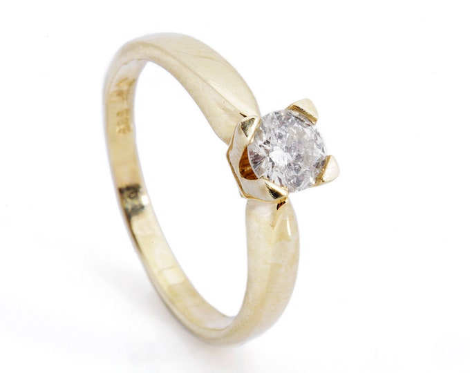 Solitaire diamond engagement ring-Promise ring-Diamond Engagement Ring 40 ct-14K Yellow Gold-Bridal Jewelry-Cluster engagement ring-For her
