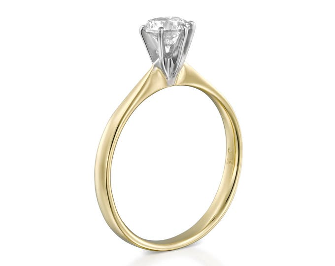 Solitaire diamond ring-Solitaire ring-Diamond Engagement Ring-Gold ring-0.40 Carat-Women Jewelry-Promise ring-Gift for her-Art deco ring