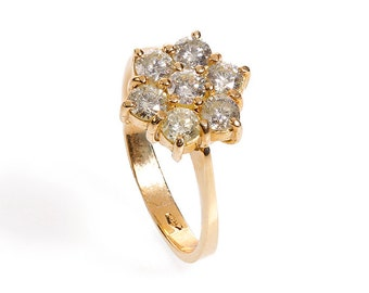 Flower Diamond Ring - Diamond Engagement Ring - Yellow Gold Ring - Present for here - Anniversary Gift - Women's Ring - Gift for Her