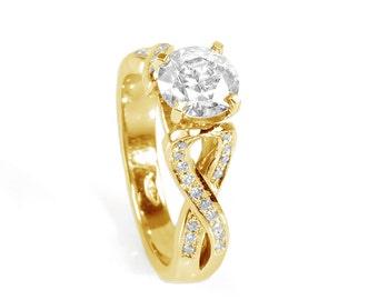 1.5 carat Diamond Ring-14K White Diamond Ring-Engagement Ring-yellow Gold Ring-infinity ring-promise ring-multistone ring-anniversary gift