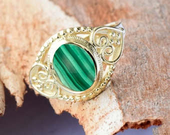 Malachite Statement Ring 14k yellow gold