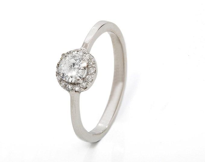 Diamond Halo Engagement Ring-Diamond Engagement Ring-White Gold Ring-Engagement Ring-Bridal Jewelry-Halo diamond ring-Art deco ring