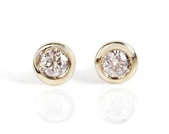 Art deco earrings-Diamond stud Earrings- Gold Earrings-1/2 carat diamond Earrings-Solitaire diamond earrings-Birthday present-Gift for her