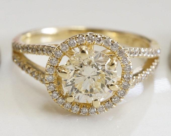 Diamond Ring 1.40 ct-Engagement ring-Promised ring-Yellow gold 14 k-Bridal Jeweler- Wedding & Engagement-Anniversery ring-Multistones ring