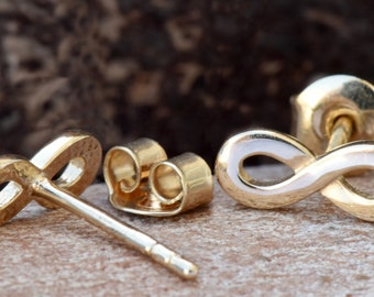 Infinity earrings gold-Tiny Stud Earrings-Stud Earrings-Birthday gift-Holidays gifts-Personalized graduation-Hypoallergenic earrings-For her
