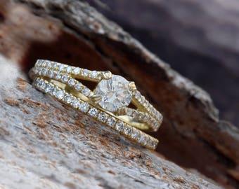 Bridal set rings yellow gold-Diamond wedding set-Yellow Gold set-Promise ring-Wedding band-Cluster wedding set-Champagne diamond-Custom ring