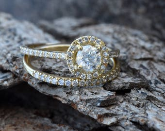 Bridal set rings-Halo diamond engagement wedding sets 1.15 ct-Diamond wedding set-Gold ring-Promise ring-Art deco wedding set-FREE SHIPPING