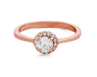 Diamond Halo Engagement Ring-Diamond Engagement Ring-Rose Gold Ring-Engagement Ring-Bridal Jewelry-Halo diamond ring-Art deco ring