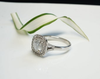 Halo diamond engagement ring-Art deco engagement ring- Custom made jewelry- FREE SHIPPING
