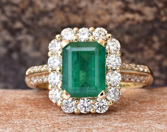 Emerald Engagement Ring  with diamonds 14K yellow Gold Ring