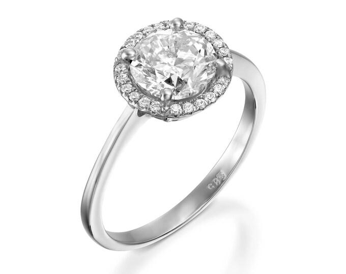 Cluster engagement ring-Diamond Engagement Ring-White Gold Ring-Engagement Ring-Promise ring-Halo diamond engagement ring- Anniversary Gift