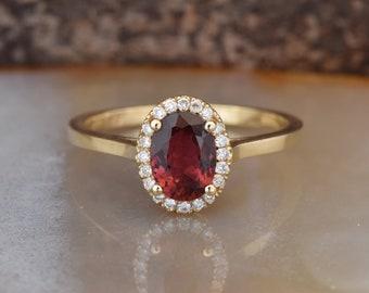 Tourmaline Diamond Engagement Ring - Yellow Gold Ring -red tourmaline Engagement Ring-Wedding & Engagement-tourmaline ring-promise ring-
