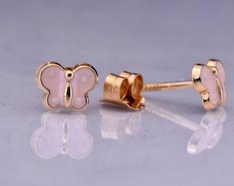 Enamel Butterfly Earring-Butterfly earrings Yellow gold-Baby girl earrings-Graduation gift-Tiny Stud Earrings-Birthday gift-Baby shower gift