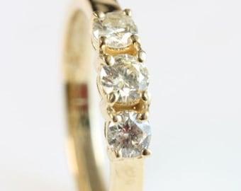 Wedding bands yellow gold-0.50 ct Diamond Ring-Gold Ring-Women Jewelry-Half Eternity Diamond Band-FREE SHIPPING-Cluster wedding band