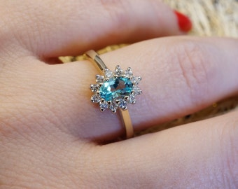 Promise ring-Blue Topaz Diamond Engagement Ring-Yellow Gold Ring-Diana Ring-Blue Topaz  ring-Multistone ring-Anniversary gifts-Vintage ring