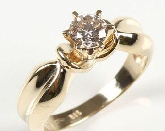 Diamond Engagement Ring 0.60 ct-Solitaire ring-14K Yellow Gold-Promise ring-Bridal Jewelry-Anniversary present-Wedding&Engagement-For her