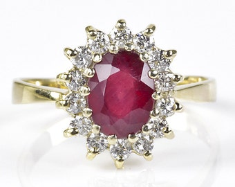 Ruby engagement ring-Diamond ring with Ruby-Engagement Ring -Ruby ring gold-Art deco ring-Ruby ring vintage-Promise Ring-Anniversary Ring