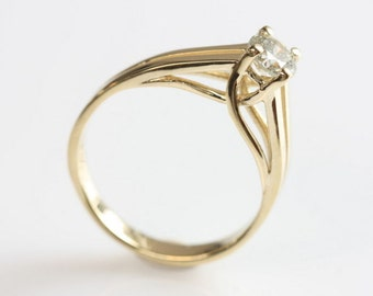 Diamond Engagement Ring-Solitaire diamond ring-14K Yellow Gold Ring-Diamond ring 0.40 ct-Women Jewelry-Promise ring-Solitaire ring -For her