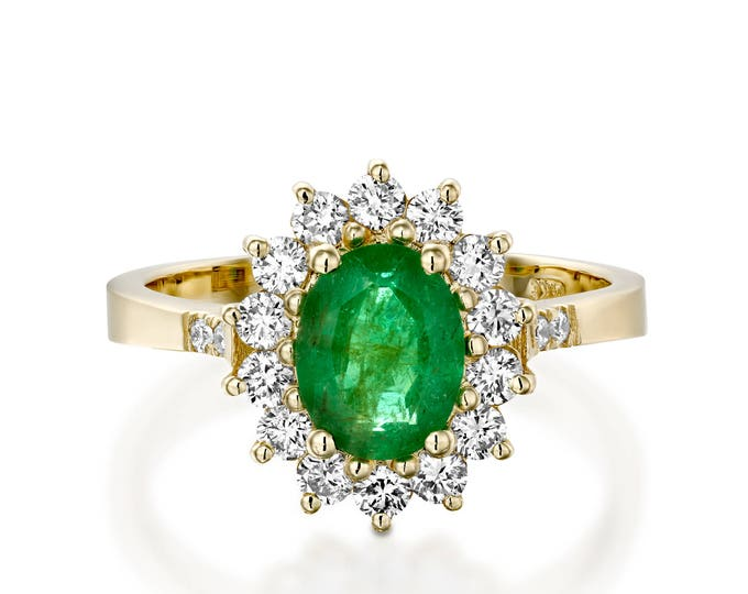 1 carat Green Emerald Engagement Ring-Diamond ring with Emerald-Green Emerald-Yellow Gold Engagement Ring-Diana Ring-Natural Emerald Ring