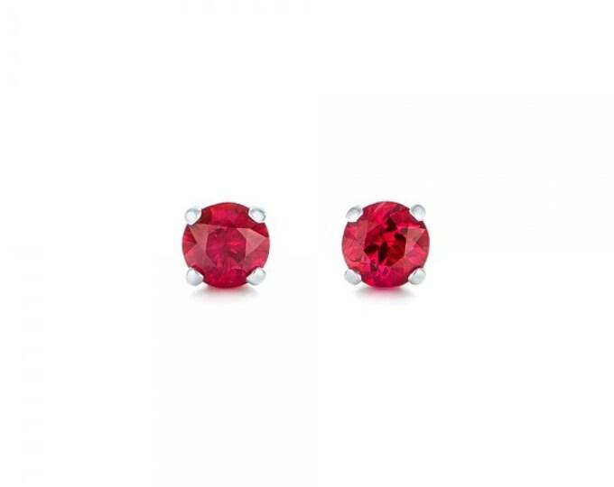 Ruby stud earrings 1/2 carat -Red ruby-Handmade Ruby stud earrings-14 k white gold earnings-Natural  Ruby-Birthday present -Anniversary gift