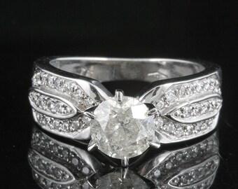 Diamond Engagement Ring-solitaire 14K white Gold Ring-1 ct diamond- Women Jewelry-promise ring-multistone ring-anniversary gift-wedding ring