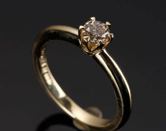 Cluster engagement ring-Solitaire diamond ring-Diamond Engagement Ring 0.30 ct-Solitaire ring-14K Yellow Gold -Women Jewelry-Promise ring