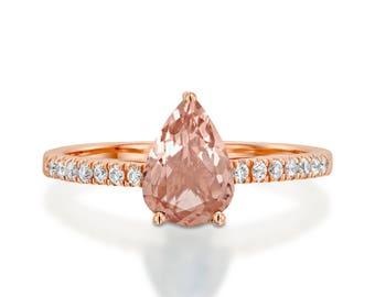 Morganite Diamond Engagement Ring -Rose Gold Ring-Morganite  Engagement Ring -Anniversary present-Promised ring-Pear Morganite ring- For her
