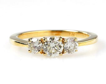 Multistone  Engagement Ring -Yellow Gold Engagement-Diamond Ring-Promise ring-Diamond Engagement-Multistone rings-Eternity ring-wedding band