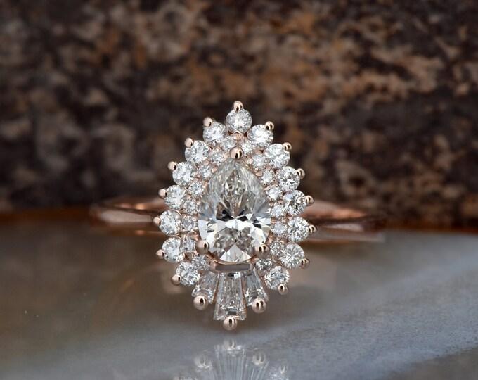 Rose gold engagement ring-1 Carat Diamond vintage ring-Rose gold-Promise ring-Pear shaped diamond engagement ring-Art deco ring-Custom Rings