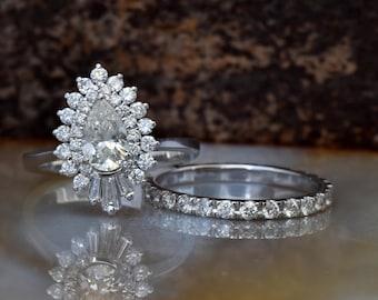 Cluster wedding ring set-Baguette wedding bands-Diamond engagement ring vintage-Gold ring-Promise ring-Pear shaped 1.5 carat diamond ring