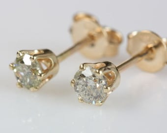 Minimalist earrings-Gold Earrings with Zirconia -Yellow Gold Earrings-Stud Earrings-Women Stud Earrings -Tiny Stud Earrings-Birthday gift