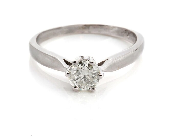 Cubic Zirconia Solitaire Ring-14k White Gold ring-Cubic Zirconia Ring-Gemstone Ring-Promise Ring-Anniversary present-For her- Cubic Zirconia