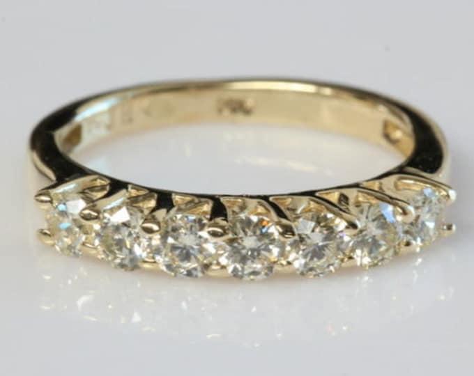 1/2 carat Eternity wedding band-Diamond wedding band- Art deco ring- Anniversary present- Celtic wedding band-Celtic ring-Yellow gold ring