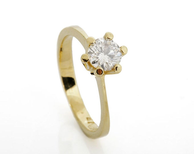 Diamond Engagement Ring 0.50 ct-Solitaire ring-14K Yellow Gold -Women Jewelry-Promise ring-Bridal Jewelry-Anniversary-Wedding&engagement