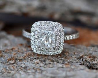Princess cut diamond engagement ring-Diamond Ring 1.50 ct- Engagement ring -Promise ring-Square diamond ring-Art deco engagement ring-Gold