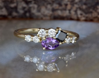 Amethyst cluster ring-Amethyst diamond engagement ring-Gold ring-Diamond ring-Promise Ring-Gift for her-Black diamond-Art deco engagement