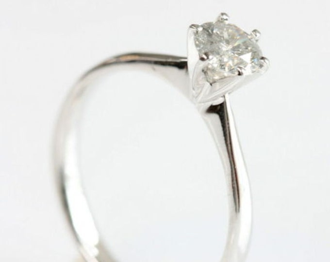 Solitaire diamond ring-1/2 carat Diamond Engagement Ring-White Gold Ring-Promise ring- Bridal Jewelry-For her-Solitaire ring setting