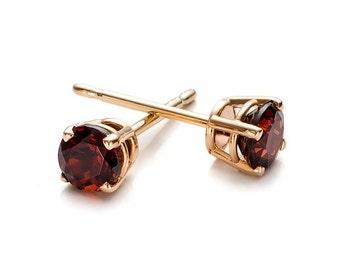 1 carat garnet stud earrings-Red garnet-Handmade garnet stud earrings-14 k Yellow gold earnings-Gift idea for her-Christmas gift-For her
