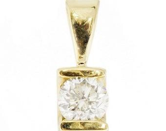 1/2ct Diamond Pendant-Yellow Gold Pendant 14K- Diamond necklace-Women Jewelry-Anniversary gift-for her jewelry-Birthday gift-Diamond pendant
