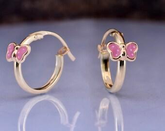 Butterfly earrings Yellow gold-Baby girl earrings-Graduation gift-Tiny Stud Earrings-bff gifts for kids-Enamel Butterfly Earring-Baby shower