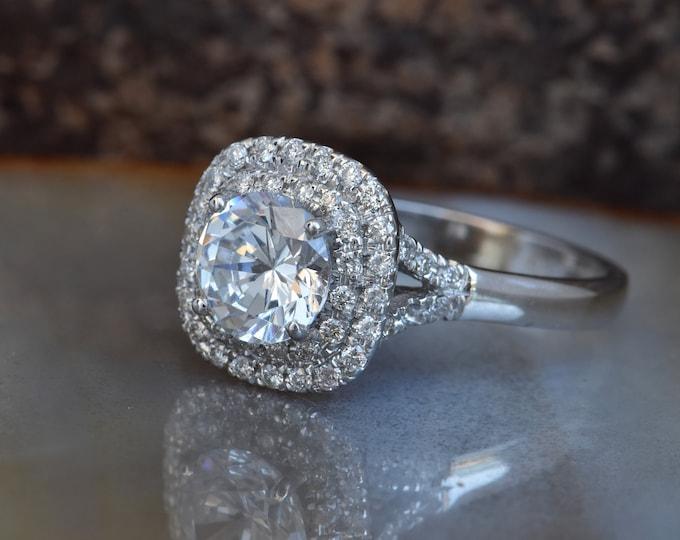 Halo diamond engagement ring-Art deco engagement ring- Custom made jewelry- FREE SHIPPING