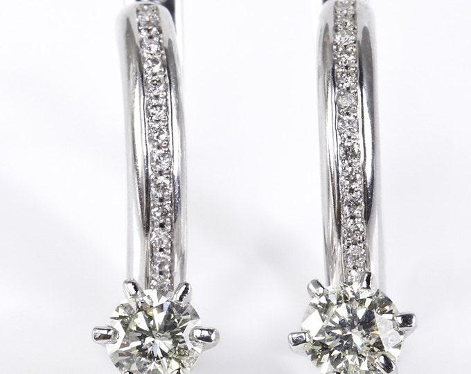 Diamond Earrings-14K Yellow Gold -Omega Back Earrings-Dangle earrings-Cluster earrings-For her-Anniversary gift-Birthday present for her