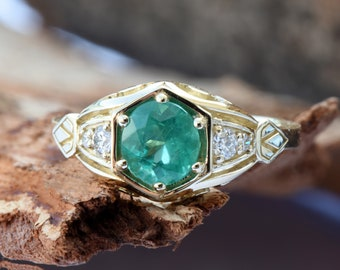 1 carat Green Emerald Engagement Ring-Diamond ring with Emerald-Green Emerald