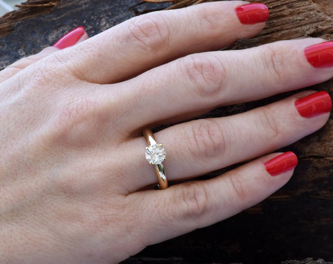 1 carat Solitaire ring -Classic diamond ring-Diamond Engagement Ring-Diamond Solitaire Ring-Gold Ring-Promise ring-Art deco ring-For her