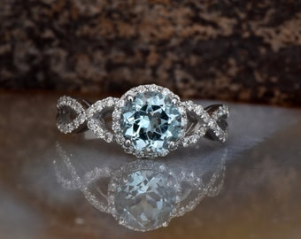 Celtic knot ring -Celtic diamond ring-Aquamarine engagement ring-FREE SHIPPING
