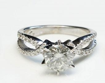 Twist engagement ring-Gold Diamond Ring-Celtic engagement ring-Solitaire ring-Promise ring-Engagement diamond ring- Twist diamond ring