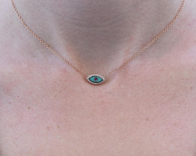 Holiday gift-Rose gold pendant-Hanukkah gift-Gold Evil Eye chain-Art nouveau necklace-Eye enamel Necklace-Diamond necklace-Fashion jewelry